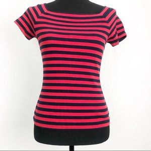Anthropologie Postmark Striped Red Navy Fitted Top